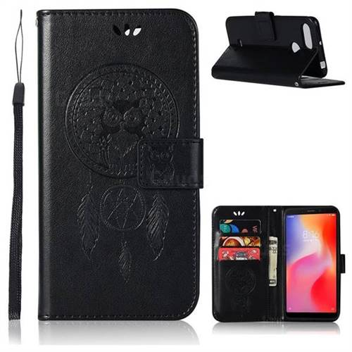 Intricate Embossing Owl Campanula Leather Wallet Case for Mi Xiaomi Redmi 6 - Black