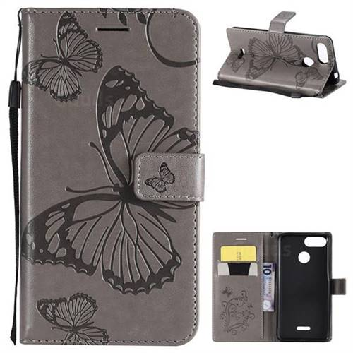 Embossing 3D Butterfly Leather Wallet Case for Mi Xiaomi Redmi 6 - Gray