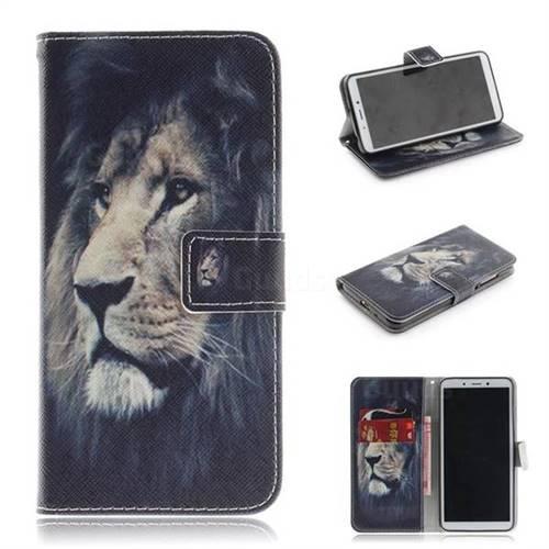 Lion Face PU Leather Wallet Case for Mi Xiaomi Redmi 6