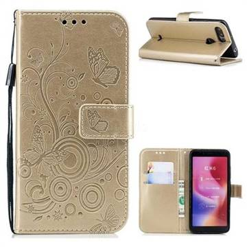 Intricate Embossing Butterfly Circle Leather Wallet Case for Mi Xiaomi Redmi 6 - Champagne