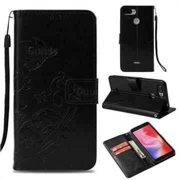 Embossing Butterfly Flower Leather Wallet Case for Mi Xiaomi Redmi 6 - Black