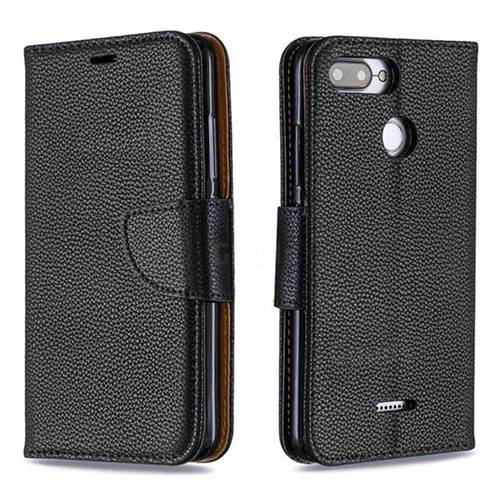 Classic Luxury Litchi Leather Phone Wallet Case for Mi Xiaomi Redmi 6 - Black