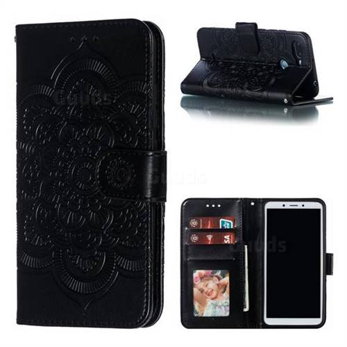 Intricate Embossing Datura Solar Leather Wallet Case for Mi Xiaomi Redmi 6 - Black