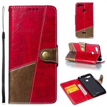 Retro Magnetic Stitching Wallet Flip Cover for Mi Xiaomi Redmi 6 - Rose Red