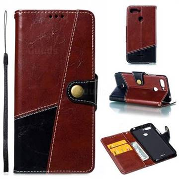 Retro Magnetic Stitching Wallet Flip Cover for Mi Xiaomi Redmi 6 - Dark Red