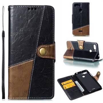 Retro Magnetic Stitching Wallet Flip Cover for Mi Xiaomi Redmi 6 - Dark Gray