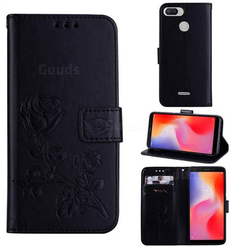 Embossing Rose Flower Leather Wallet Case for Mi Xiaomi Redmi 6 - Black