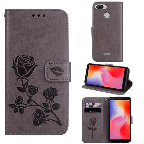 Embossing Rose Flower Leather Wallet Case for Mi Xiaomi Redmi 6 - Grey