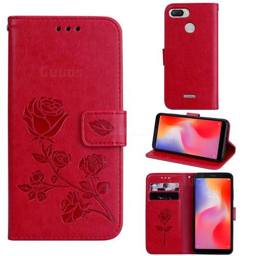 Embossing Rose Flower Leather Wallet Case for Mi Xiaomi Redmi 6 - Red