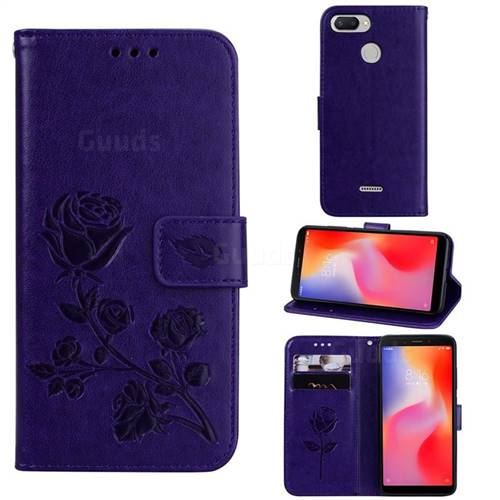 Embossing Rose Flower Leather Wallet Case for Mi Xiaomi Redmi 6 - Purple