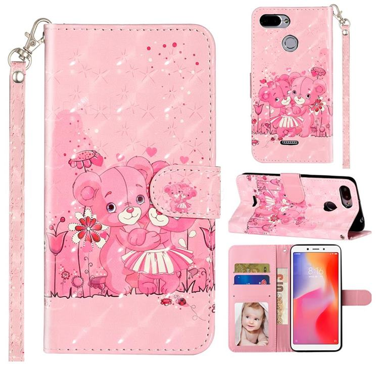 Pink Bear 3D Leather Phone Holster Wallet Case for Mi Xiaomi Redmi 6