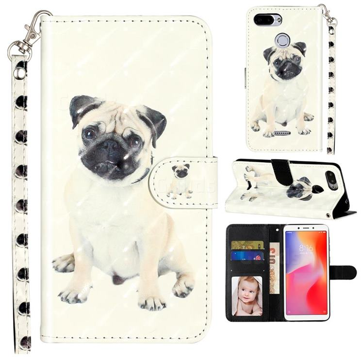 Pug Dog 3D Leather Phone Holster Wallet Case for Mi Xiaomi Redmi 6