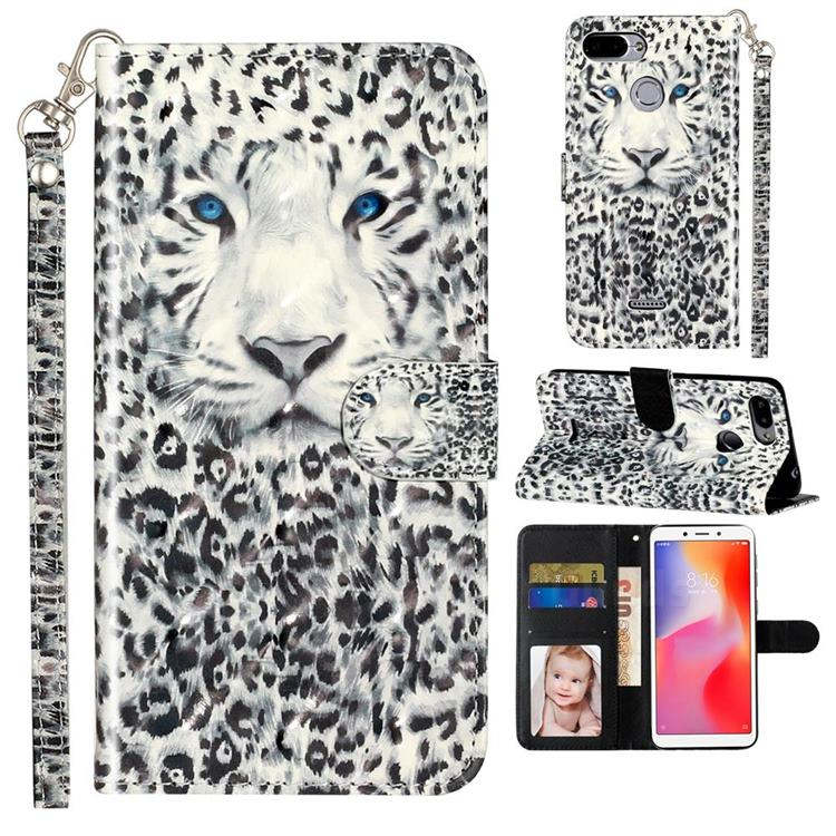 White Leopard 3D Leather Phone Holster Wallet Case for Mi Xiaomi Redmi 6