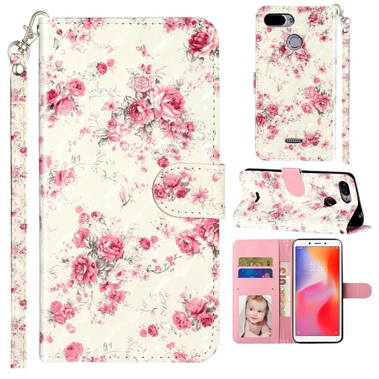 Rambler Rose Flower 3D Leather Phone Holster Wallet Case for Mi Xiaomi Redmi 6