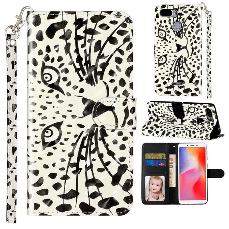 Leopard Panther 3D Leather Phone Holster Wallet Case for Mi Xiaomi Redmi 6