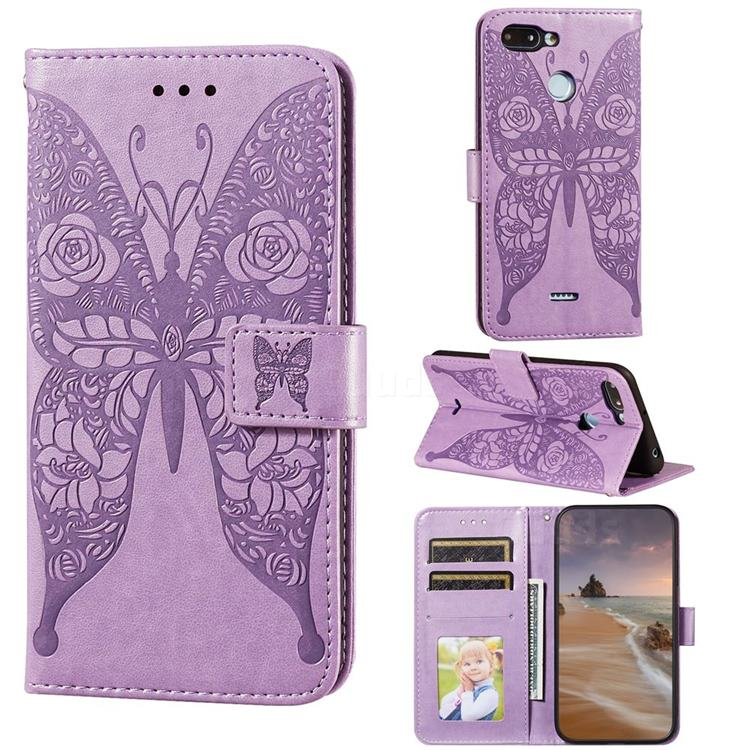 Intricate Embossing Rose Flower Butterfly Leather Wallet Case for Mi Xiaomi Redmi 6 - Purple