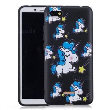 Blue Unicorn 3D Embossed Relief Black Soft Back Cover for Mi Xiaomi Redmi 6A