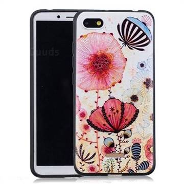 sale retailer f8c25 fd3dc Pink Flower 3D Embossed Relief Black Soft Back Cover for Mi Xiaomi Redmi 6A