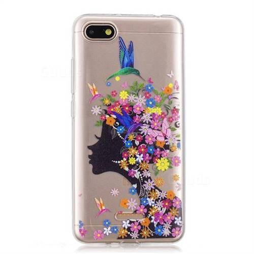 sports shoes 3e82c 4296a Floral Bird Girl Super Clear Soft TPU Back Cover for Mi Xiaomi Redmi 6A