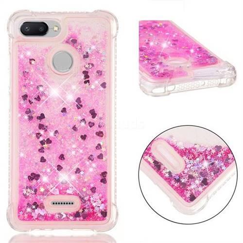 Dynamic Liquid Glitter Sand Quicksand TPU Case for Mi Xiaomi Redmi 6A - Pink Love Heart