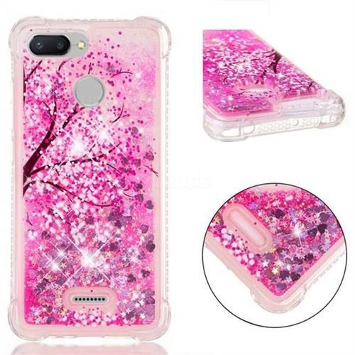 Pink Cherry Blossom Dynamic Liquid Glitter Sand Quicksand Star TPU Case for Mi Xiaomi Redmi 6A