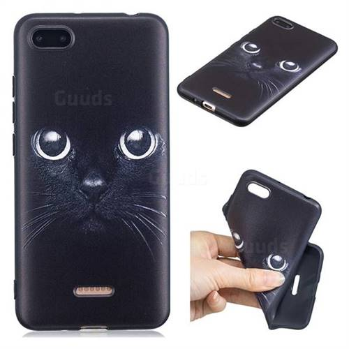 Bearded Feline 3D Embossed Relief Black TPU Cell Phone Back Cover for Mi Xiaomi Redmi 6A