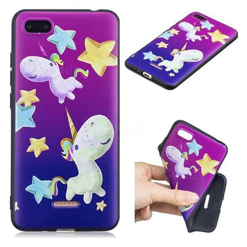 Pony 3D Embossed Relief Black TPU Cell Phone Back Cover for Mi Xiaomi Redmi 6A