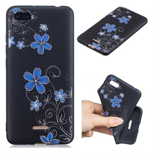 Little Blue Flowers 3D Embossed Relief Black TPU Cell Phone Back Cover for Mi Xiaomi Redmi 6A