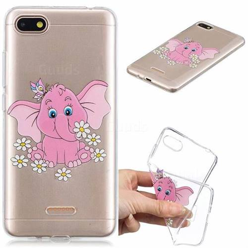 Tiny Pink Elephant Clear Varnish Soft Phone Back Cover for Mi Xiaomi Redmi 6A