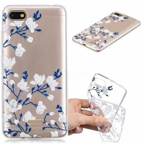 Magnolia Flower Clear Varnish Soft Phone Back Cover for Mi Xiaomi Redmi 6A