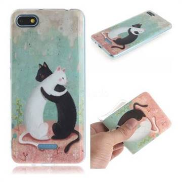 Black and White Cat IMD Soft TPU Cell Phone Back Cover for Mi Xiaomi Redmi 6A