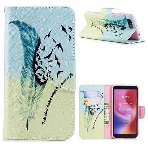 Feather Bird Leather Wallet Case for Mi Xiaomi Redmi 6A