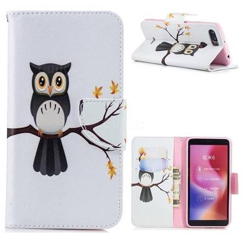 Owl on Tree Leather Wallet Case for Mi Xiaomi Redmi 6A