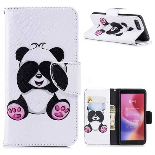 Lovely Panda Leather Wallet Case for Mi Xiaomi Redmi 6A