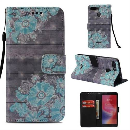 Blue Flower 3D Painted Leather Wallet Case for Mi Xiaomi Redmi 6A