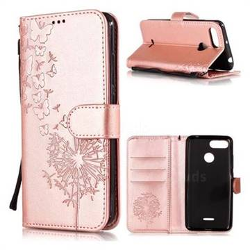 detailed pictures c77e0 5bae2 Intricate Embossing Dandelion Butterfly Leather Wallet Case for Mi Xiaomi  Redmi 6A - Rose Gold