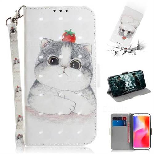 Cute Tomato Cat 3D Painted Leather Wallet Phone Case for Mi Xiaomi Redmi 6A