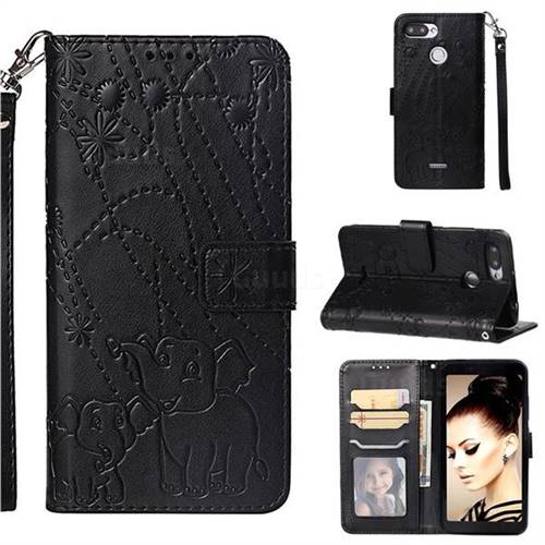 Embossing Fireworks Elephant Leather Wallet Case for Mi Xiaomi Redmi 6A - Black