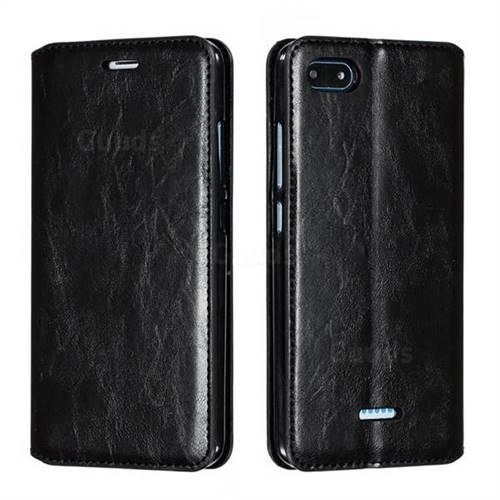 Retro Slim Magnetic Crazy Horse PU Leather Wallet Case for Mi Xiaomi Redmi 6A - Black