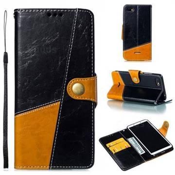Retro Magnetic Stitching Wallet Flip Cover for Mi Xiaomi Redmi 6A - Black