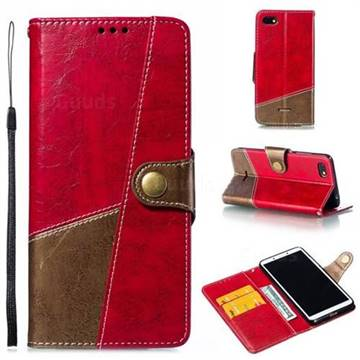 Retro Magnetic Stitching Wallet Flip Cover for Mi Xiaomi Redmi 6A - Rose Red