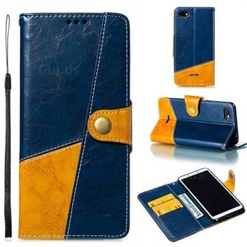 Retro Magnetic Stitching Wallet Flip Cover for Mi Xiaomi Redmi 6A - Blue