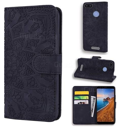 Retro Embossing Mandala Flower Leather Wallet Case for Mi Xiaomi Redmi 6A - Black