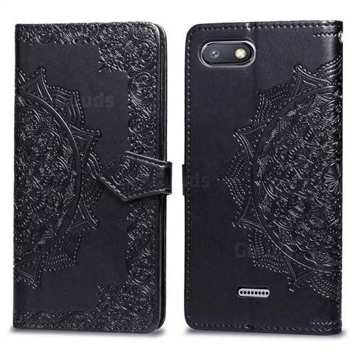 Embossing Imprint Mandala Flower Leather Wallet Case for Mi Xiaomi Redmi 6A - Black