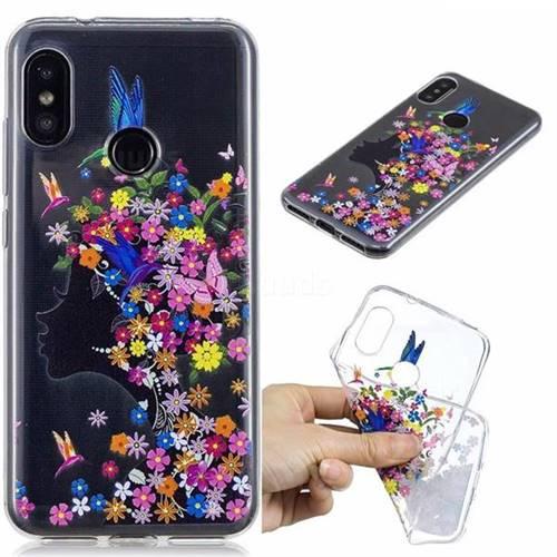 best service 45112 32f61 Floral Bird Girl Super Clear Soft TPU Back Cover for Xiaomi Mi A2 Lite  (Redmi 6 Pro)