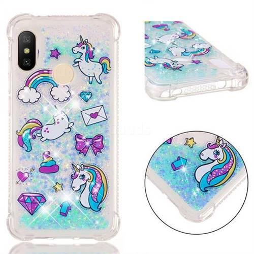Fashion Unicorn Dynamic Liquid Glitter Sand Quicksand Star TPU Case for Xiaomi Mi A2 Lite (Redmi 6 Pro)