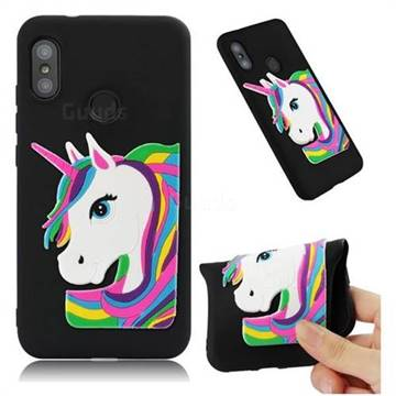 Rainbow Unicorn Soft 3D Silicone Case for Xiaomi Mi A2 Lite (Redmi 6 Pro) - Black