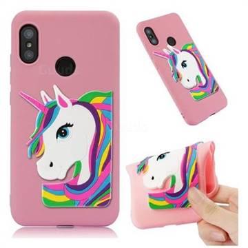 Rainbow Unicorn Soft 3D Silicone Case for Xiaomi Mi A2 Lite (Redmi 6 Pro) - Pink