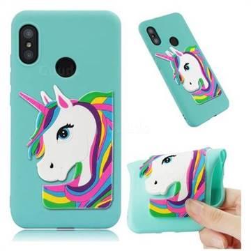 check out c0eb9 b8acd Rainbow Unicorn Soft 3D Silicone Case for Xiaomi Mi A2 Lite (Redmi 6 Pro) -  Sky Blue