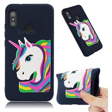 Rainbow Unicorn Soft 3D Silicone Case for Xiaomi Mi A2 Lite (Redmi 6 Pro) - Navy